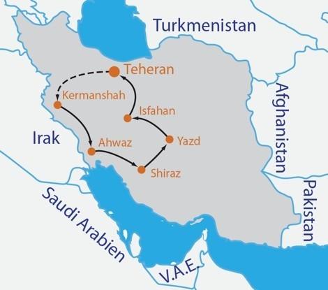 Iran Rundreise Reiseroute