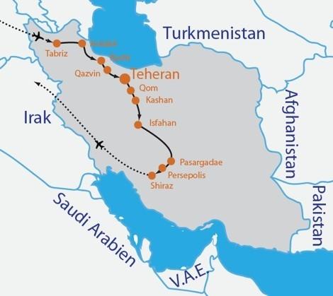 Iran Reise Frau Reiseroute
